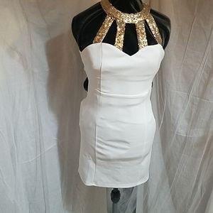 NWOT Tobi Winter White/Gold Dress
